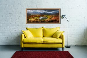 Loughrigg Tarn in Autumn Sunshine - Oak floater frame with acrylic glazing on Wall
