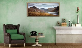 Three Sheep at Wast Water - Oak floater frame with acrylic glazing on Wall