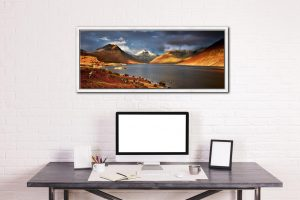 Warm Sunlight on Wasdale Head - White Maple floater frame with acrylic glazing on Wall