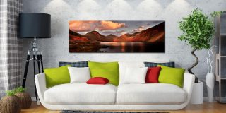 Dusk at Wast Water - Print Aluminium Backing With Acrylic Glazing on Wall