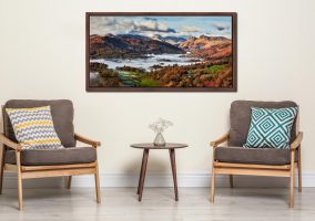 Autumn Morning in Langdale - Walnut floater frame with acrylic glazing on Wall