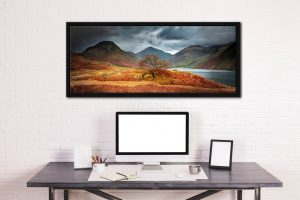 Darkness and Light at Wast Water - Black oak floater frame with acrylic glazing on Wall