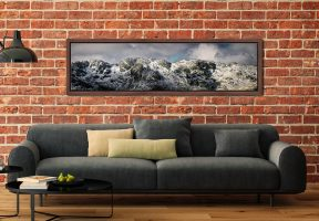 Crinkle Crags Winter Panorama - Walnut floater frame with acrylic glazing on Wall
