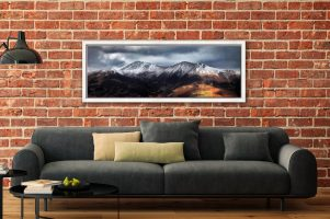 Snow Capped Skiddaw - White Maple floater frame with acrylic glazing on Wall