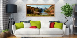 Wast Water Boathouse - Oak floater frame with acrylic glazing on Wall