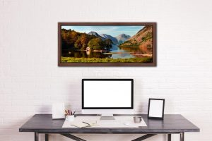 Wast Water Boathouse - Walnut floater frame with acrylic glazing on Wall