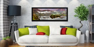 Grasmere Autumn Mists - Black oak floater frame with acrylic glazing on Wall