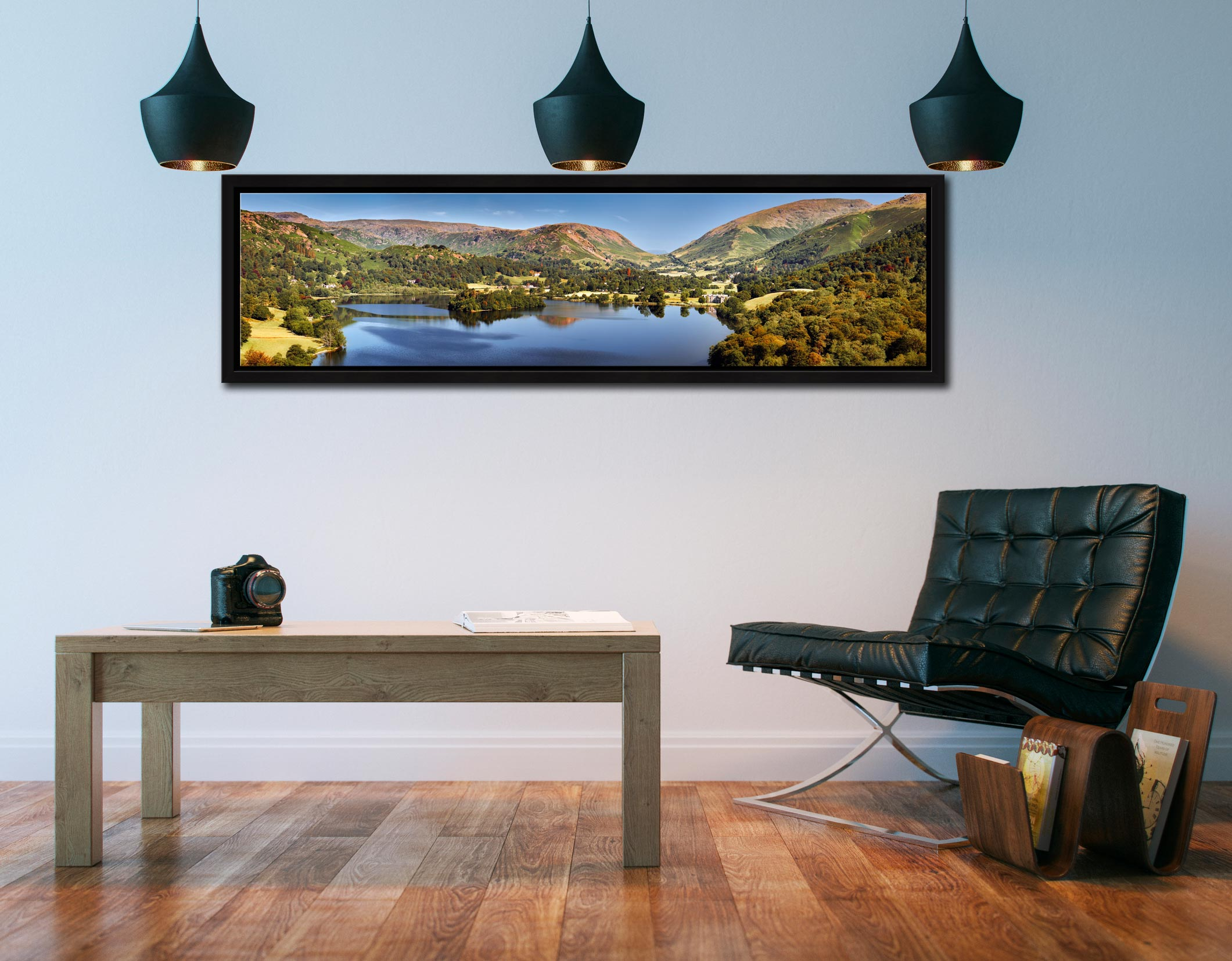 Grasmere Summer Panorama - Black oak floater frame with acrylic glazing on Wall