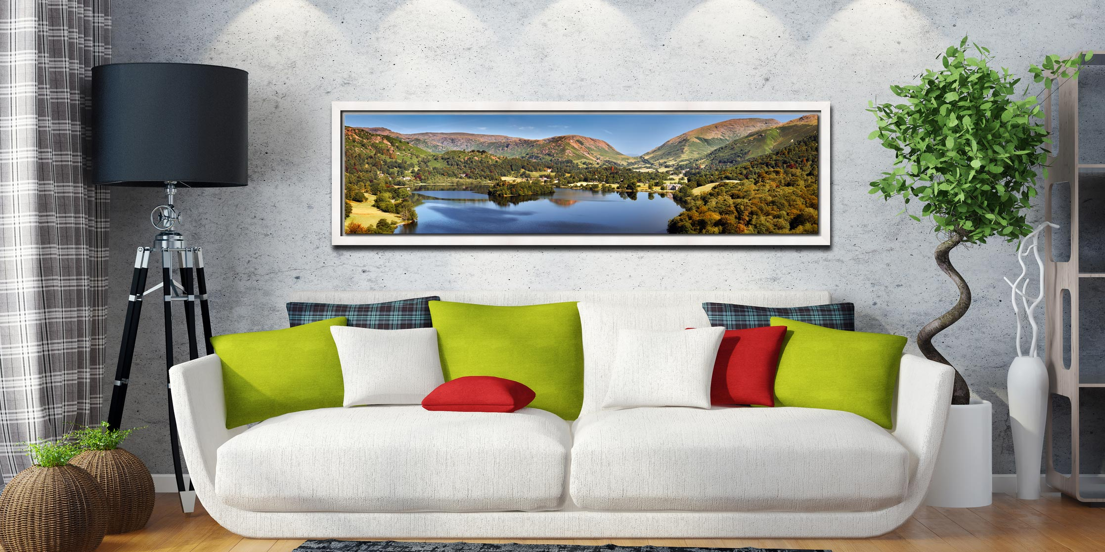 Grasmere Summer Panorama - White Maple floater frame with acrylic glazing on Wall
