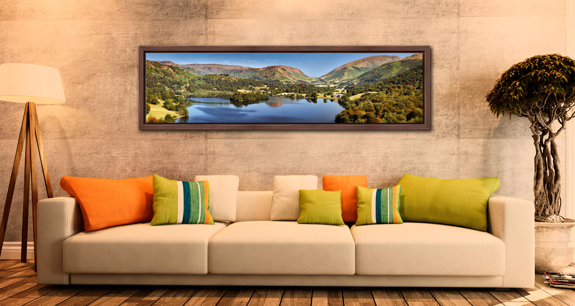 Grasmere Summer Panorama - Walnut floater frame with acrylic glazing on Wall