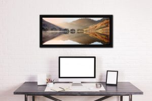 Bright Light on Buttermere - Black oak floater frame with acrylic glazing on Wall