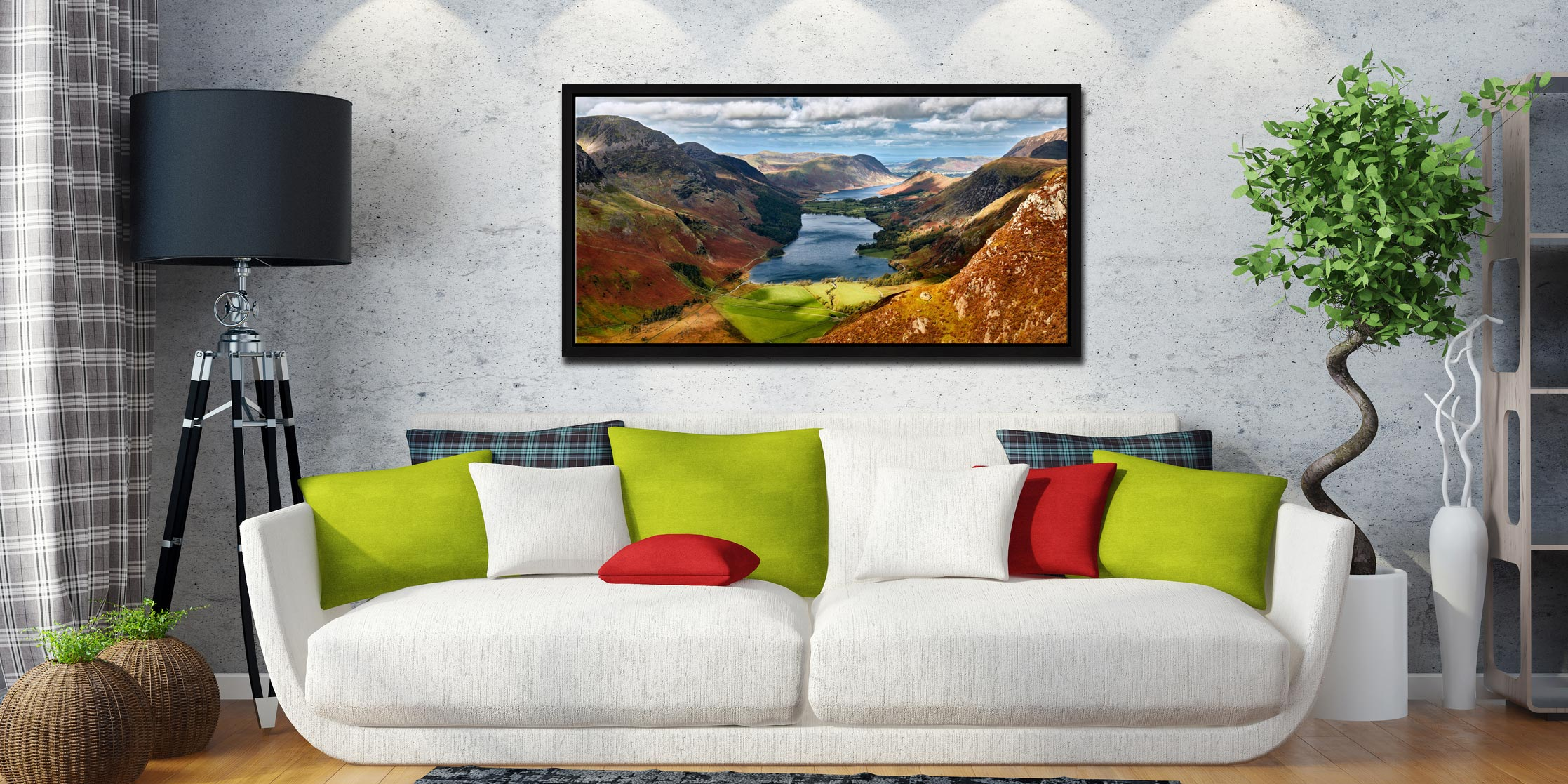 Buttermere From Fleetwith Pike - Black oak floater frame with acrylic glazing on Wall
