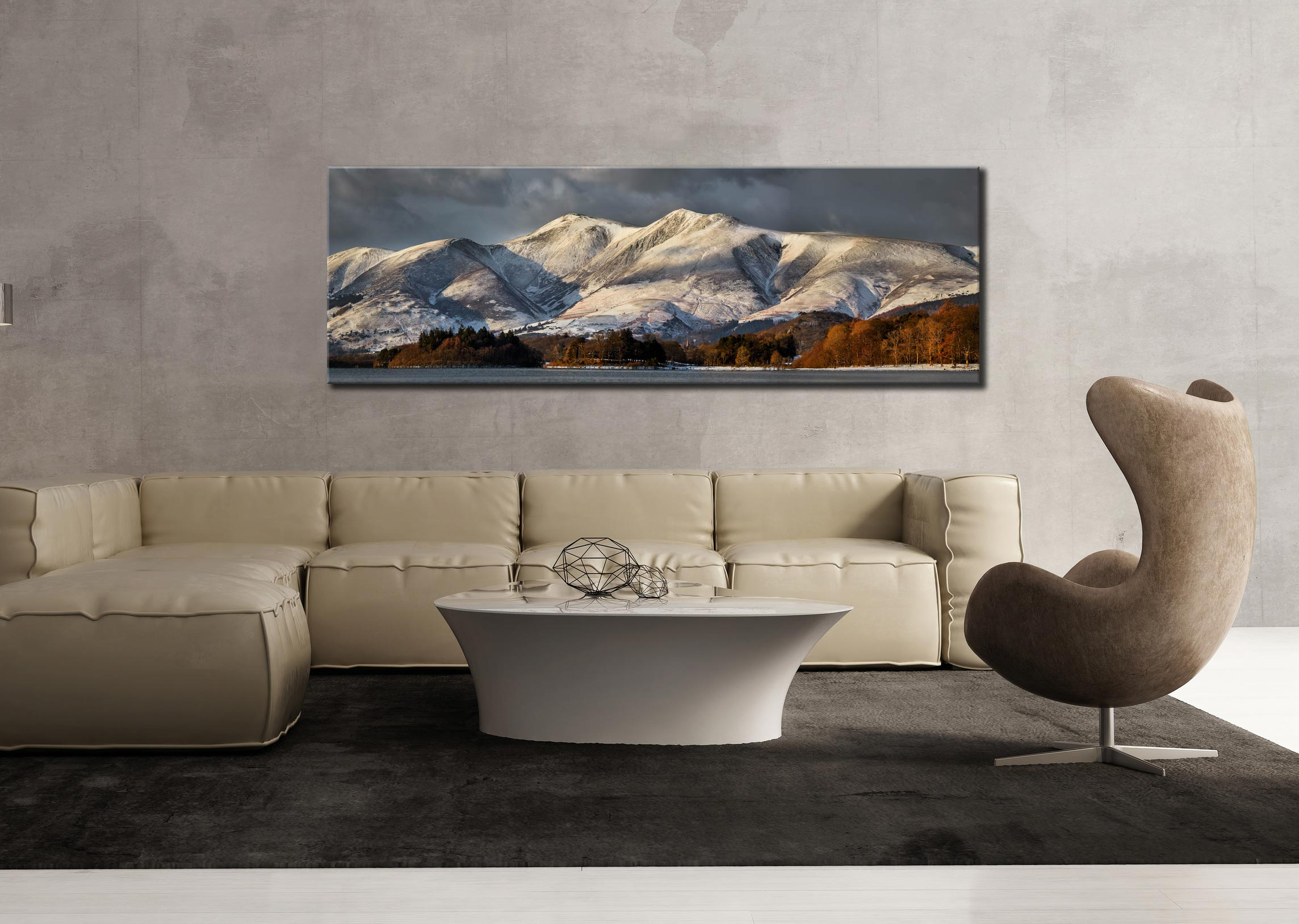 Skiddaw Winter Panorama - Print Aluminium Backing With Acrylic Glazing on Wall