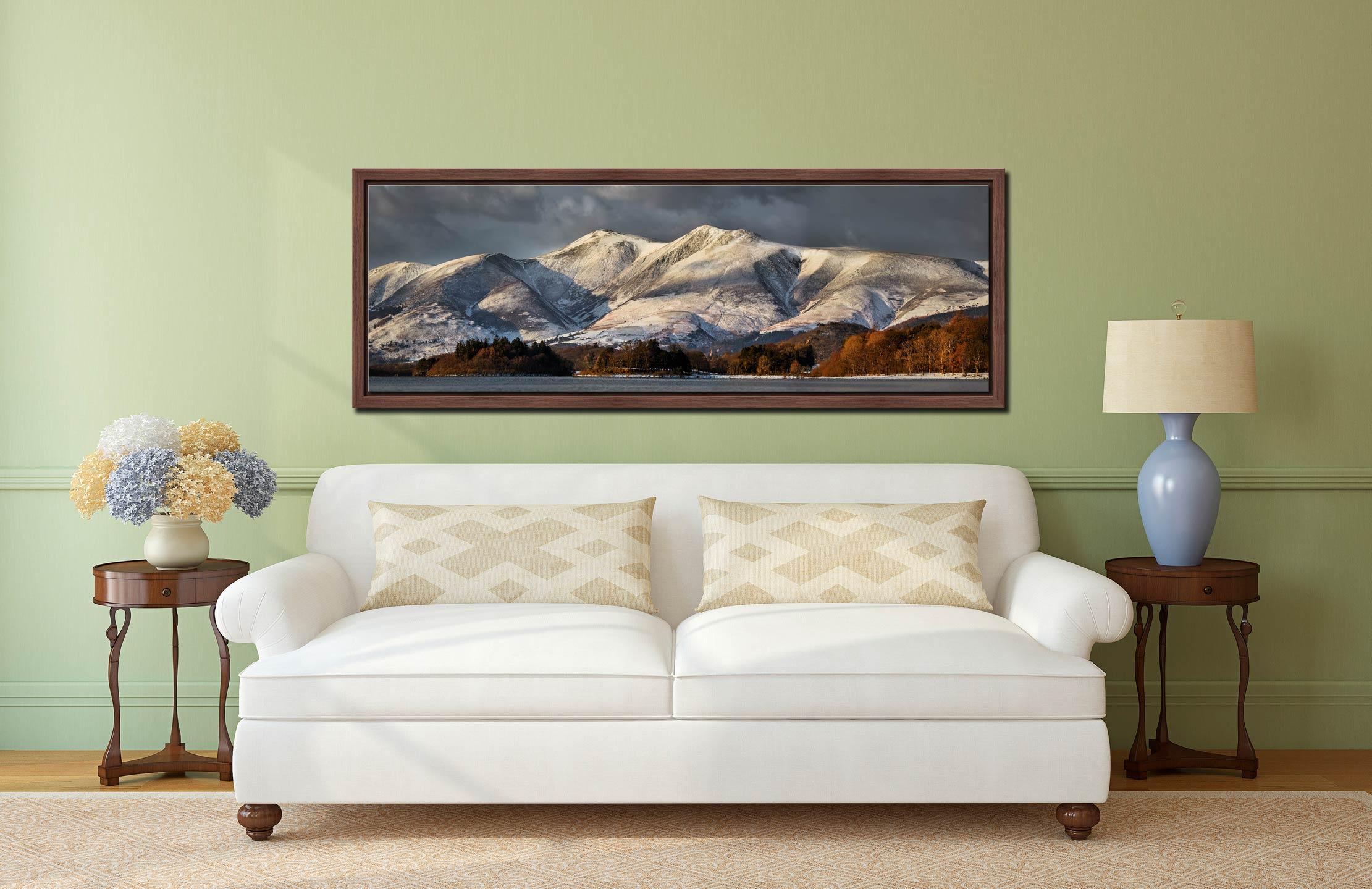Skiddaw Winter Panorama - Walnut floater frame with acrylic glazing on Wall