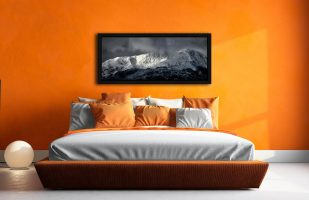 Snow Covered Wetherlam - Black oak floater frame with acrylic glazing on Wall