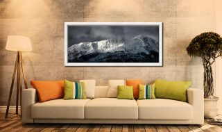 Snow Covered Wetherlam - White Maple floater frame with acrylic glazing on Wall