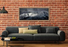 Snow Covered Wetherlam - Oak floater frame with acrylic glazing on Wall