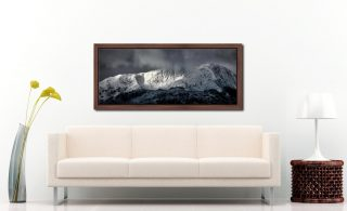Snow Covered Wetherlam - Walnut floater frame with acrylic glazing on Wall