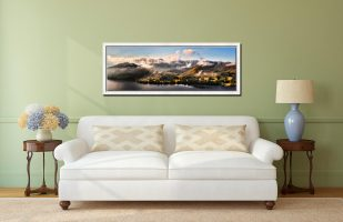 Ullswater Clouds Panorama - White Maple floater frame with acrylic glazing on Wall