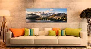 Ullswater Clouds Panorama - Print Aluminium Backing With Acrylic Glazing on Wall