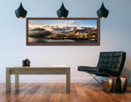 Ullswater Clouds Panorama - Walnut floater frame with acrylic glazing on Wall