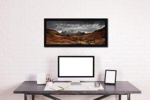 The Langdale Pikes Winter Panorama - Black oak floater frame with acrylic glazing on Wall