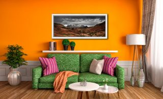 The Langdale Pikes Winter Panorama - White Maple floater frame with acrylic glazing on Wall