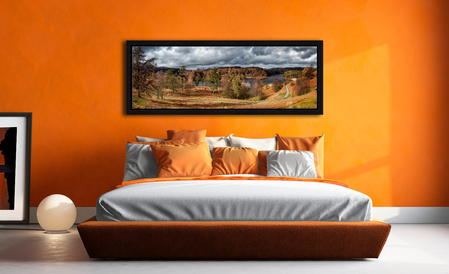 Tarn Hows Winter Colours - Black oak floater frame with acrylic glazing on Wall