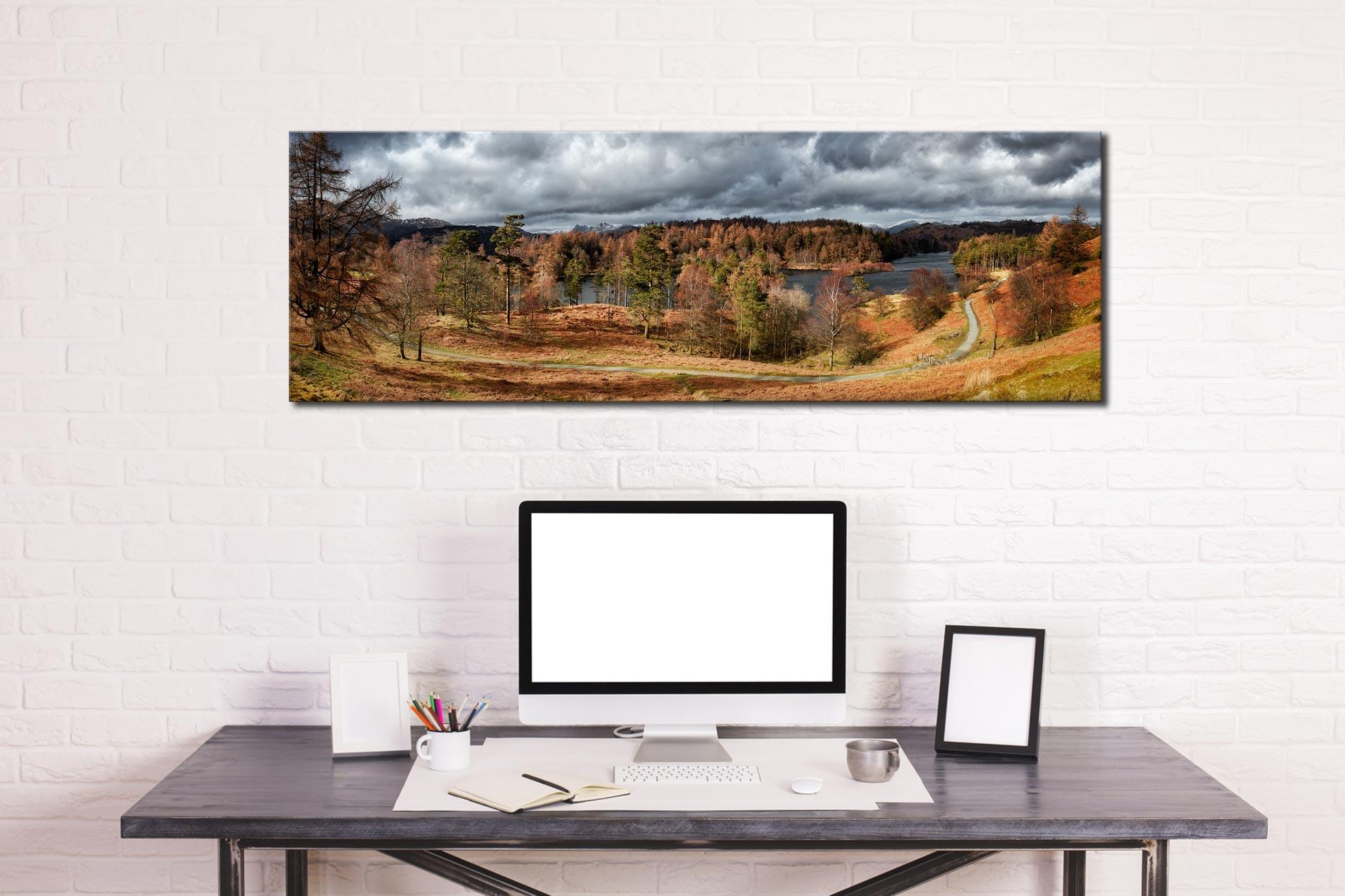 Tarn Hows Winter Colours - Print Aluminium Backing With Acrylic Glazing on Wall