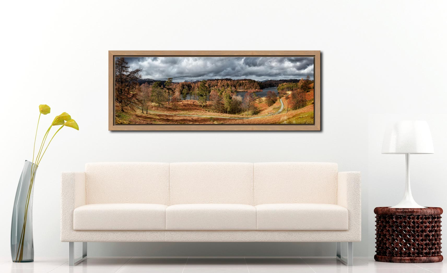 Tarn Hows Winter Colours - Oak floater frame with acrylic glazing on Wall