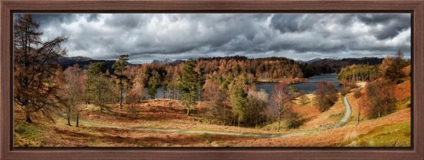 Tarn Hows Winter Colours - Walnut floater frame with acrylic glazing