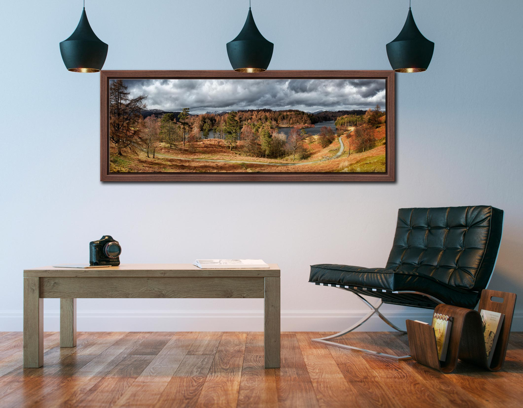 Tarn Hows Winter Colours - Walnut floater frame with acrylic glazing on Wall