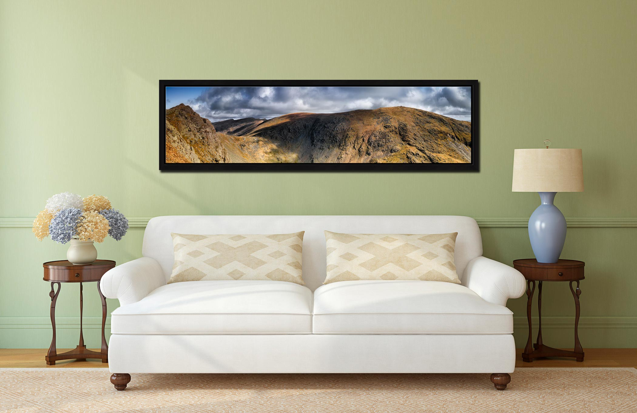 Dow Crag and Old Man Coniston - Black oak floater frame with acrylic glazing on Wall