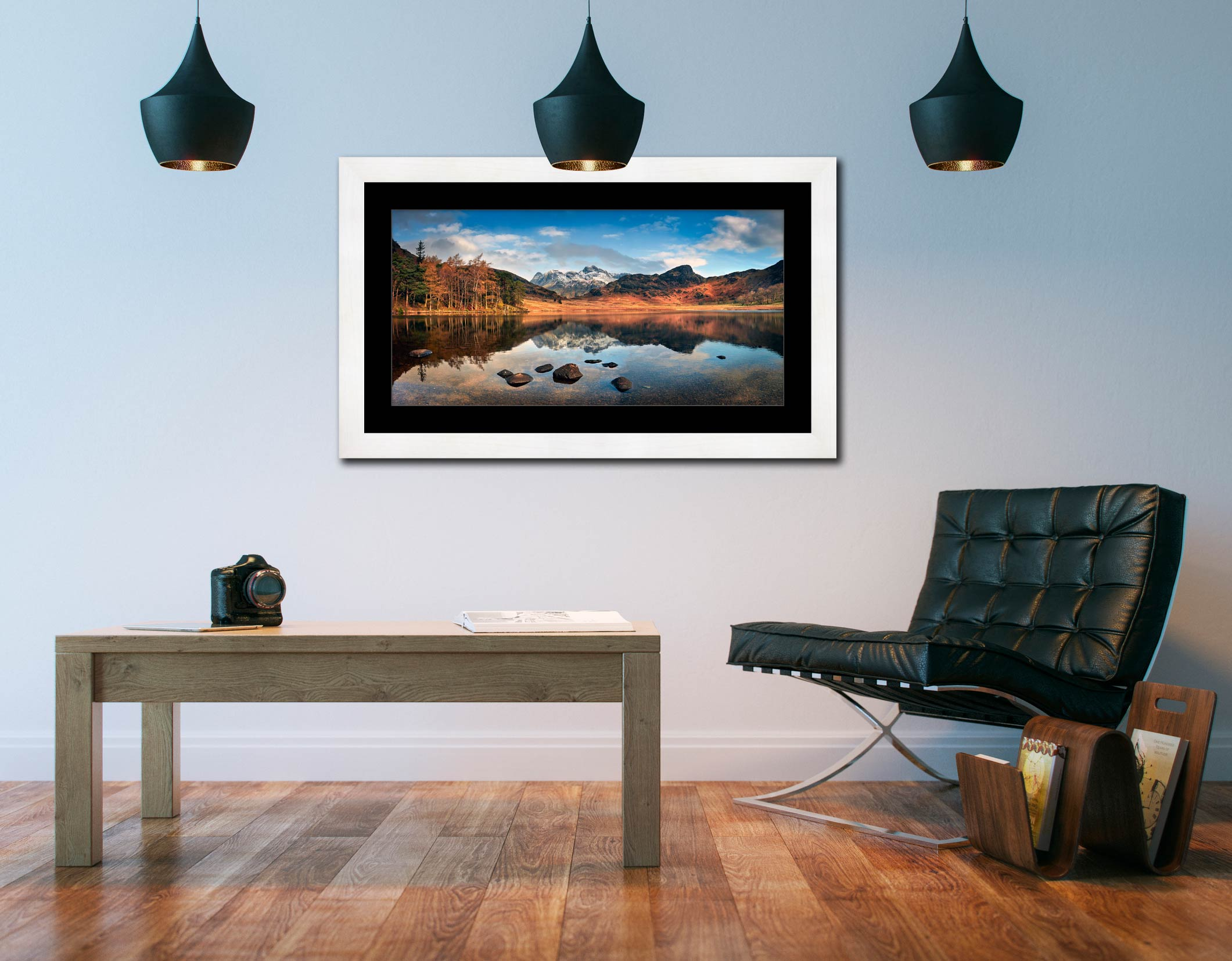 Spring Sunshine on Blea Tarn - Framed Print with Mount on Wall