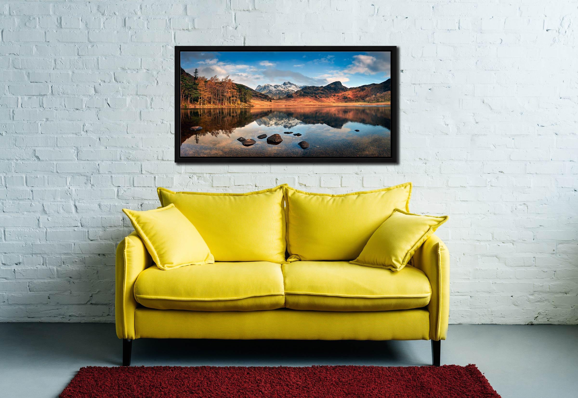 Spring Sunshine on Blea Tarn - Black oak floater frame with acrylic glazing on Wall