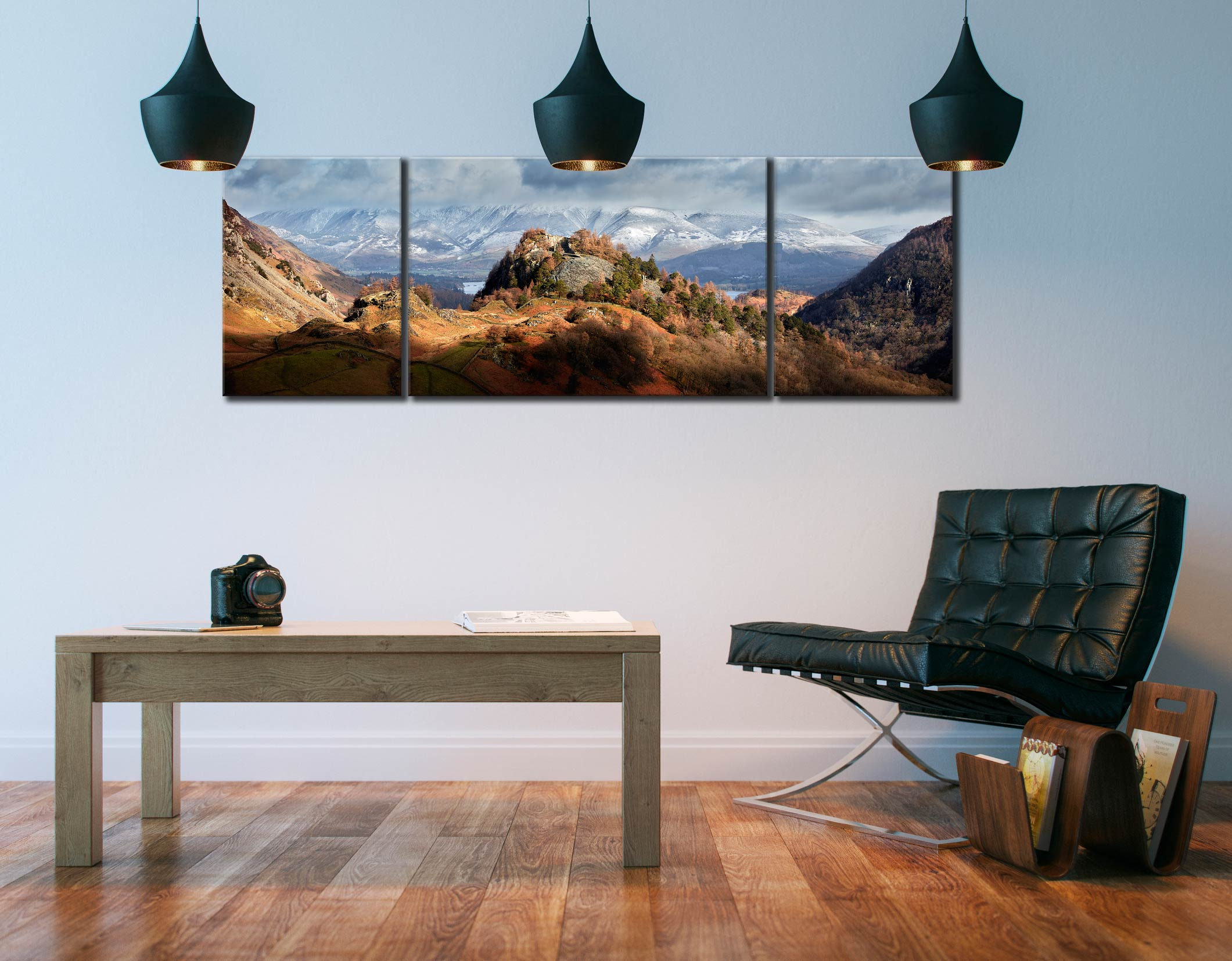 Castle Crag Winter Sunshine - 3 Panel Wide Mid Canvas on Wall
