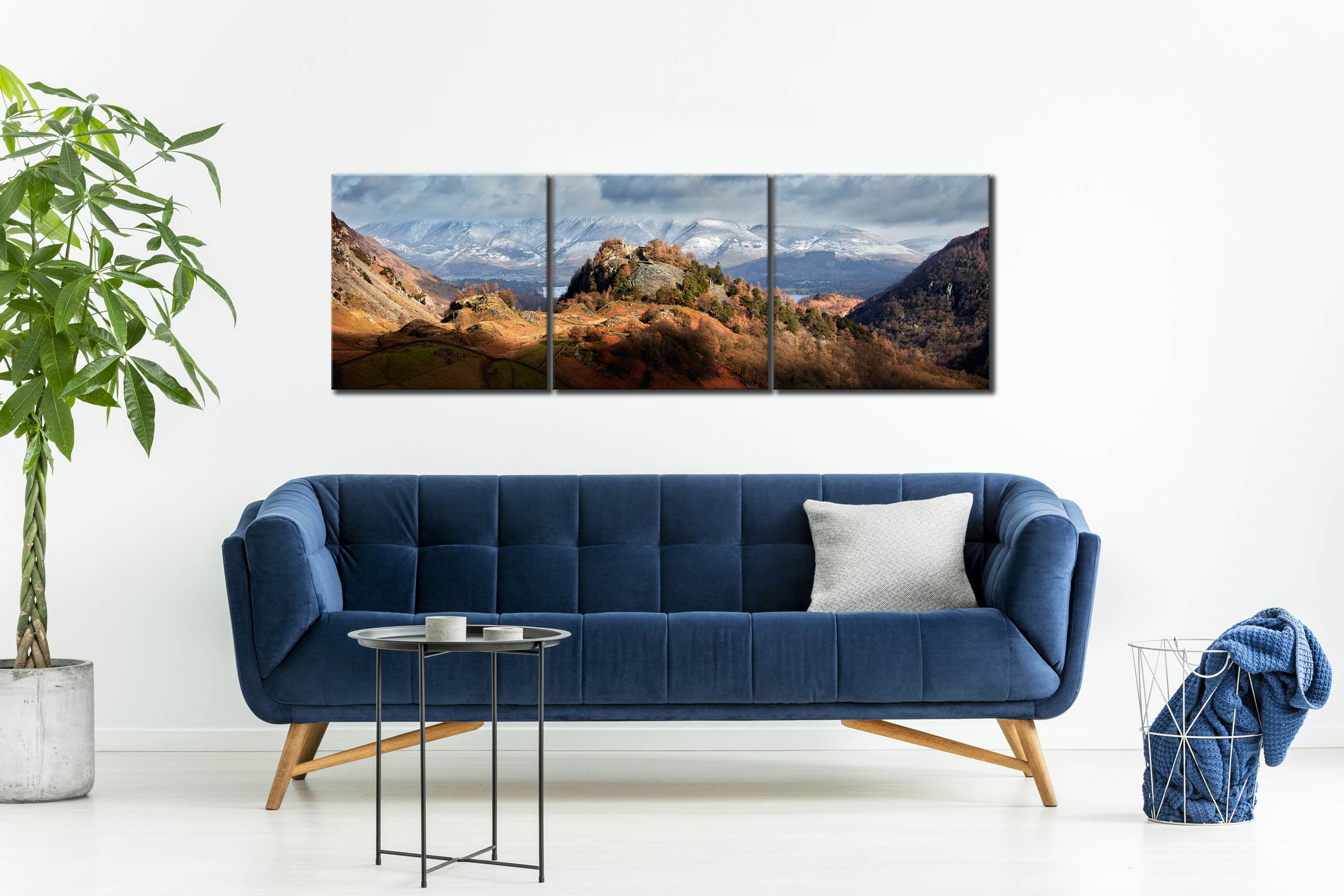 Castle Crag Winter Sunshine - 3 Panel Canvas on Wall