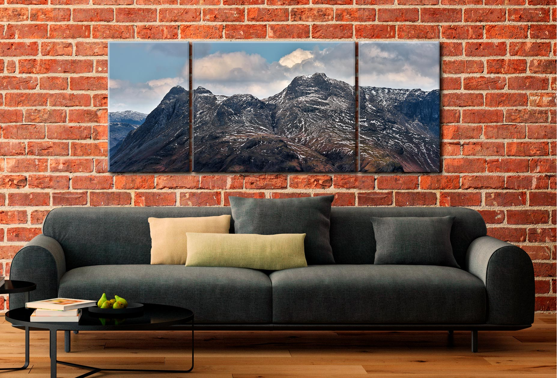 Late Snow on Langdale Pikes - 3 Panel Wide Mid Canvas on Wall