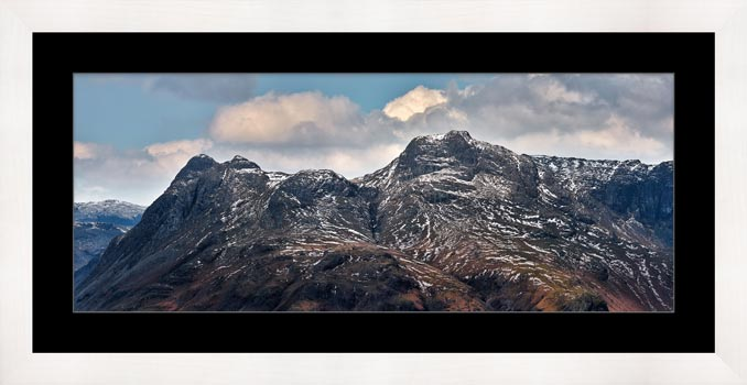 Late Snow on Langdale Pikes - Framed Print with Mount