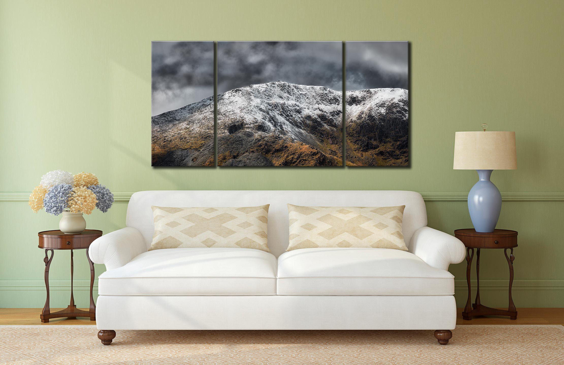 Coniston Old Man Summit - 3 Panel Wide Centre Canvas on Wall