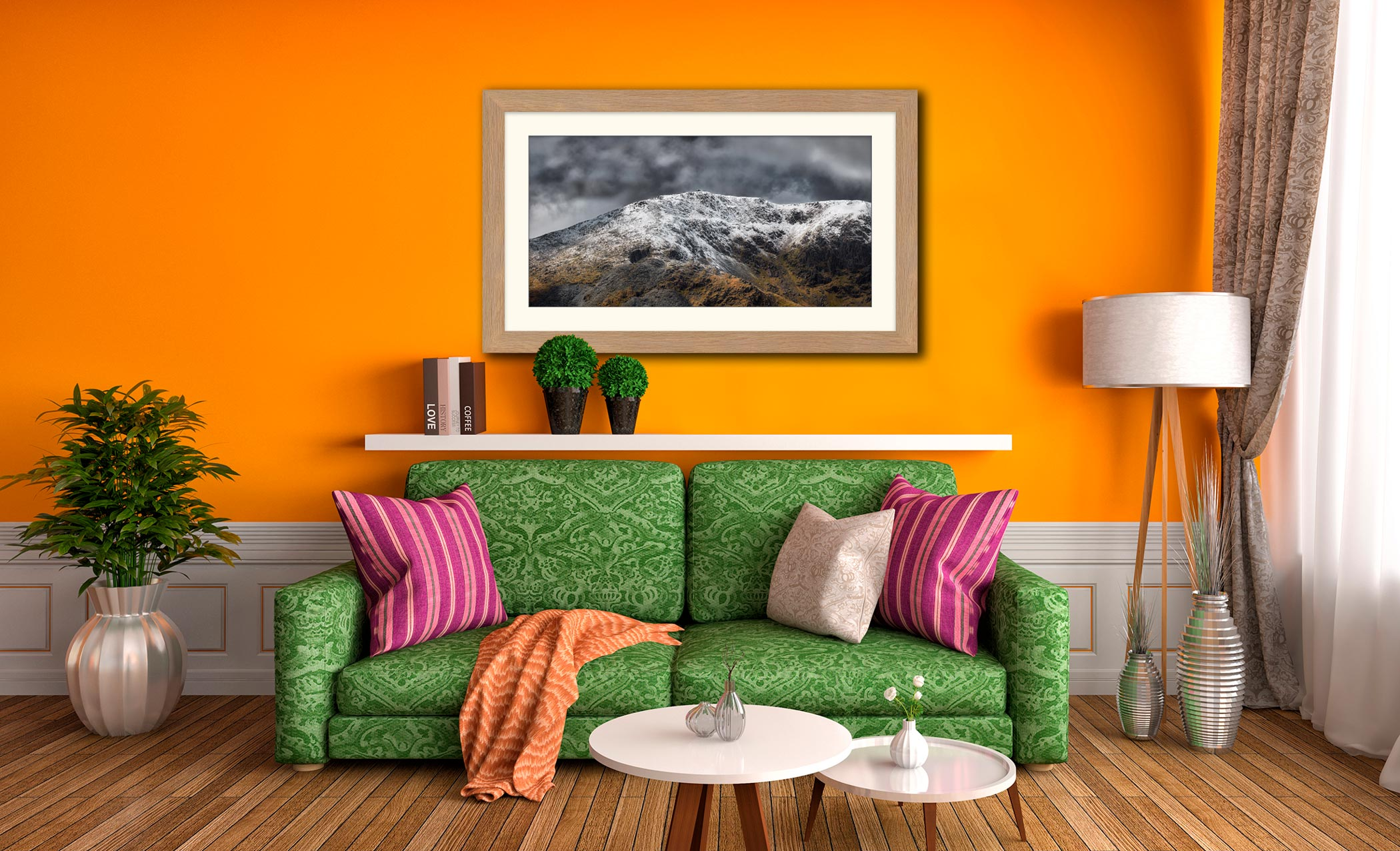 Coniston Old Man Summit - Framed Print with Mount on Wall