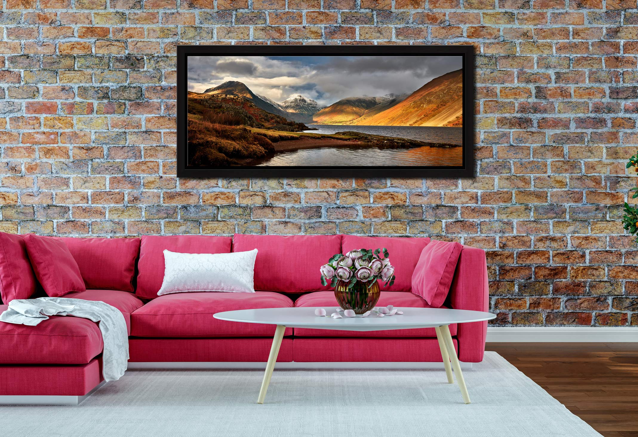 Glorious Wast Water - Black oak floater frame with acrylic glazing on Wall