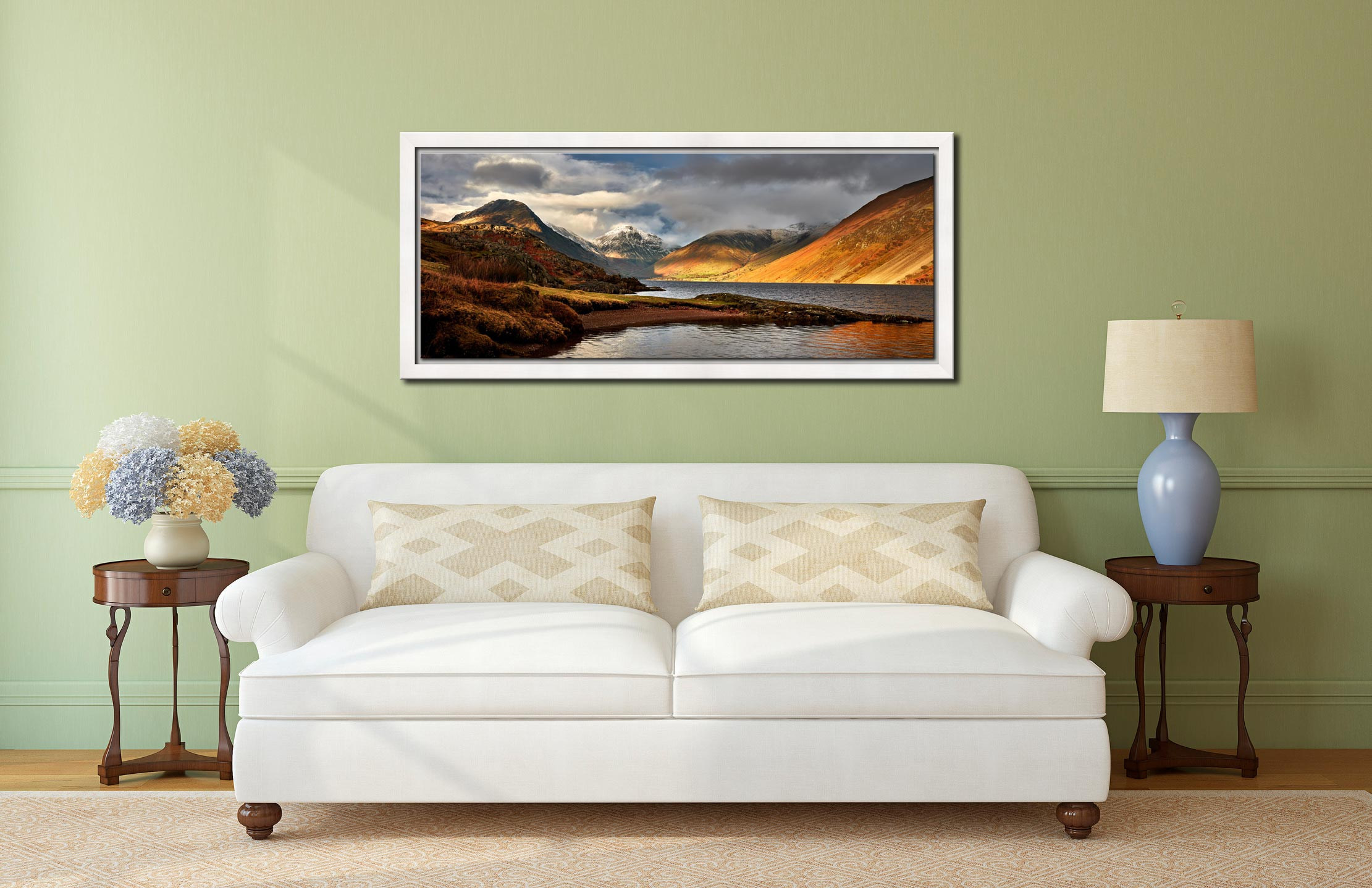 Glorious Wast Water - White Maple floater frame with acrylic glazing on Wall