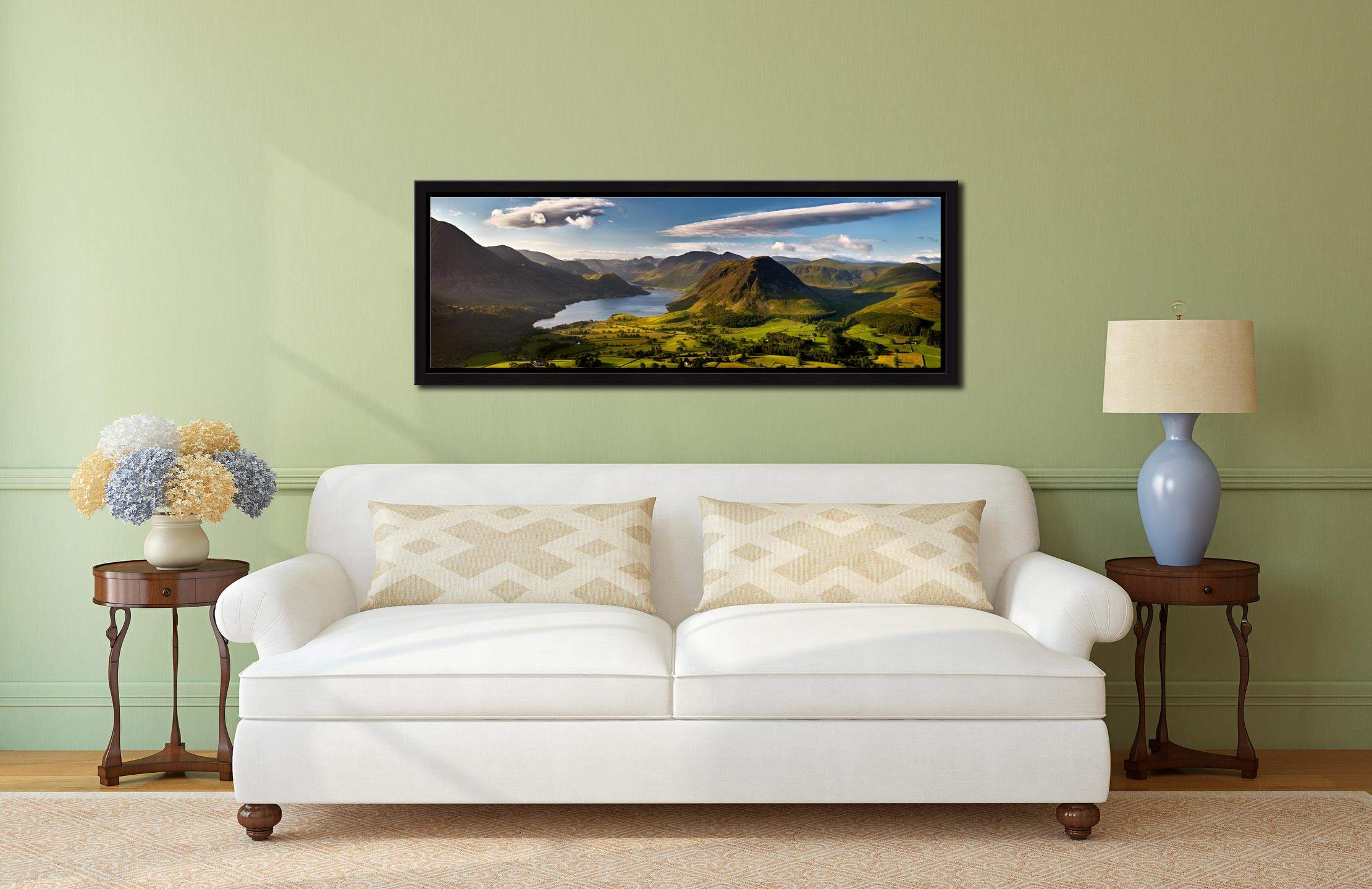 Morning Sunshine on Crummock Water - Black oak floater frame with acrylic glazing on Wall