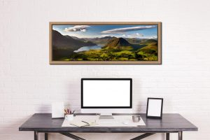 Morning Sunshine on Crummock Water - Oak floater frame with acrylic glazing on Wall
