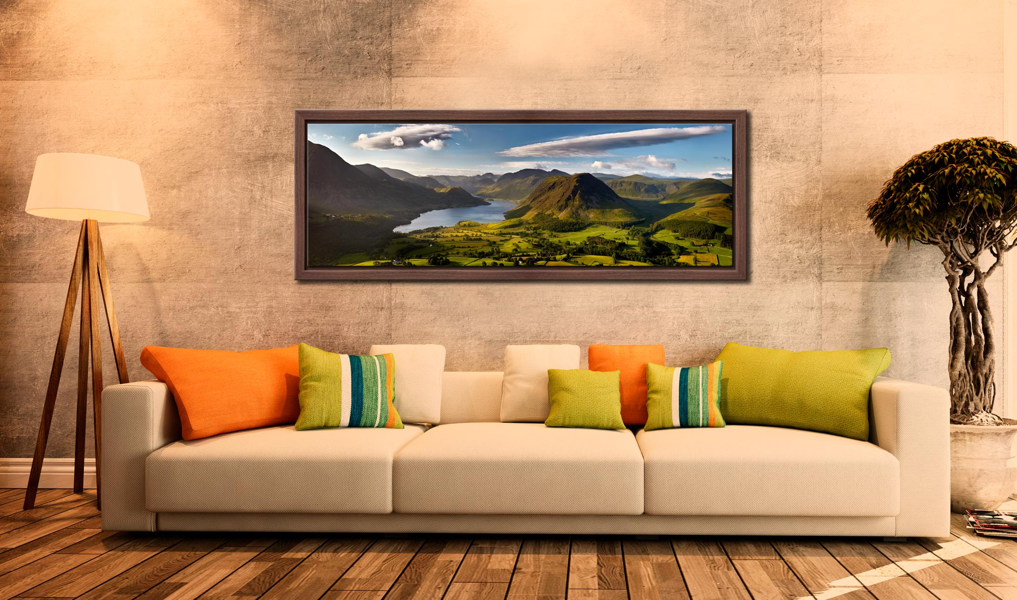 Morning Sunshine on Crummock Water - Walnut floater frame with acrylic glazing on Wall