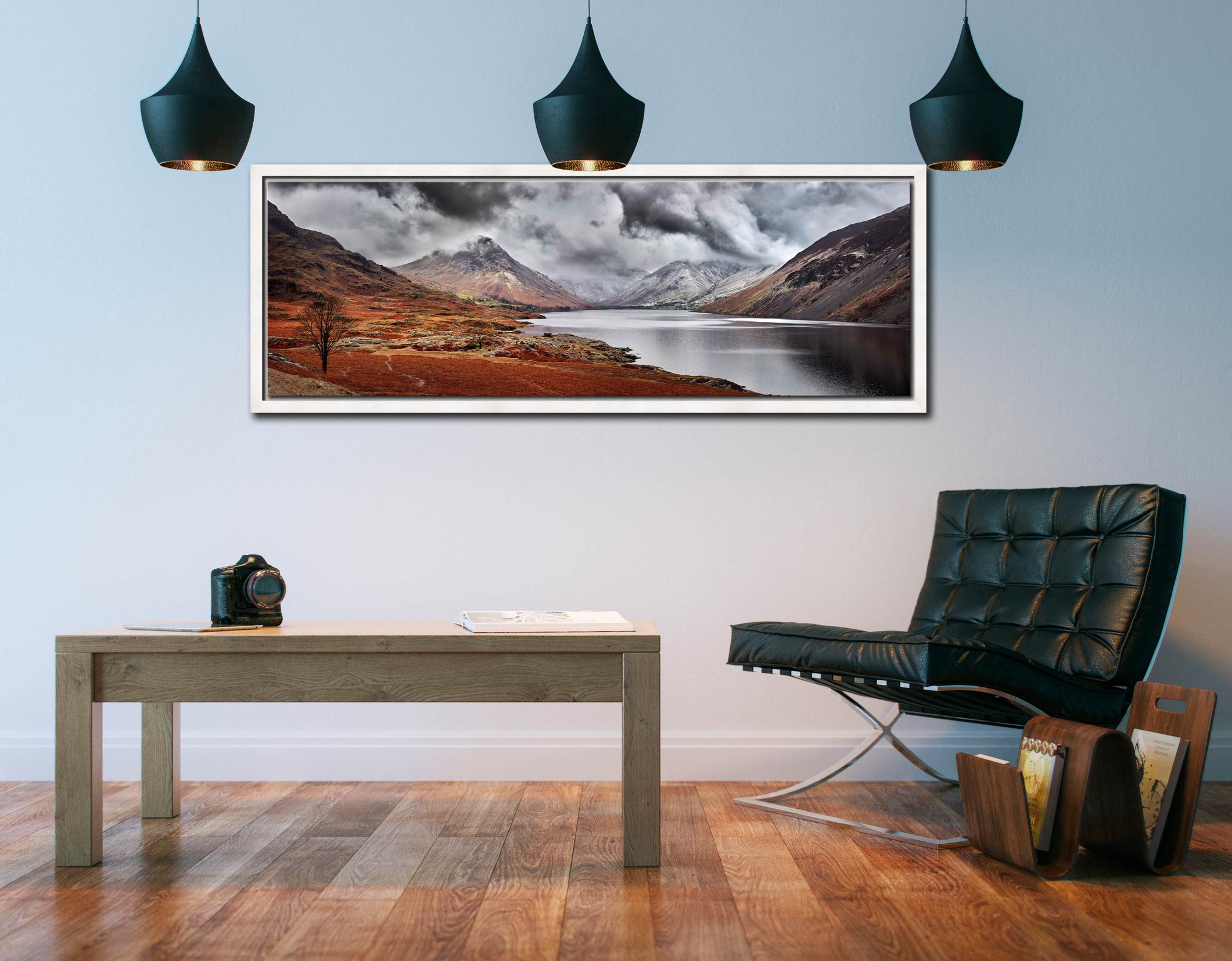 Dark Skies Over Wast Water - White Maple floater frame with acrylic glazing on Wall