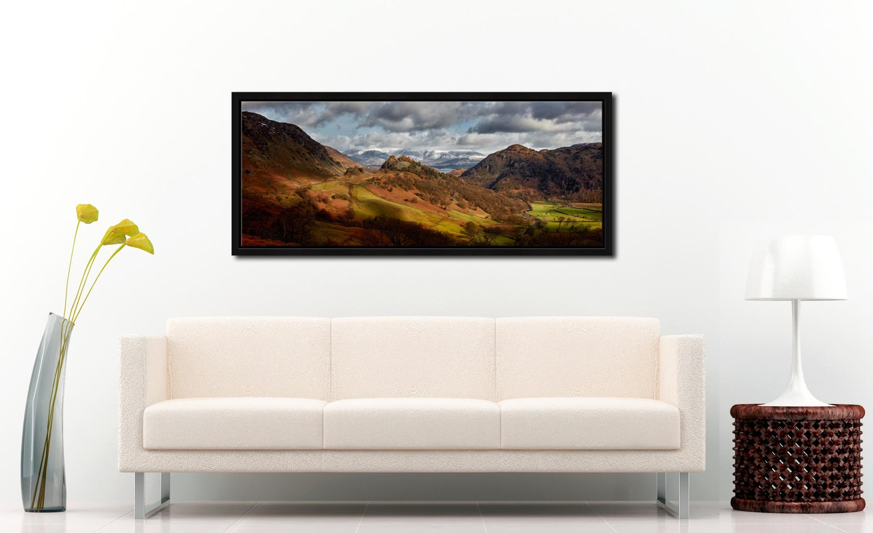 Castle Crag Winter Sunshine - Black oak floater frame with acrylic glazing on Wall
