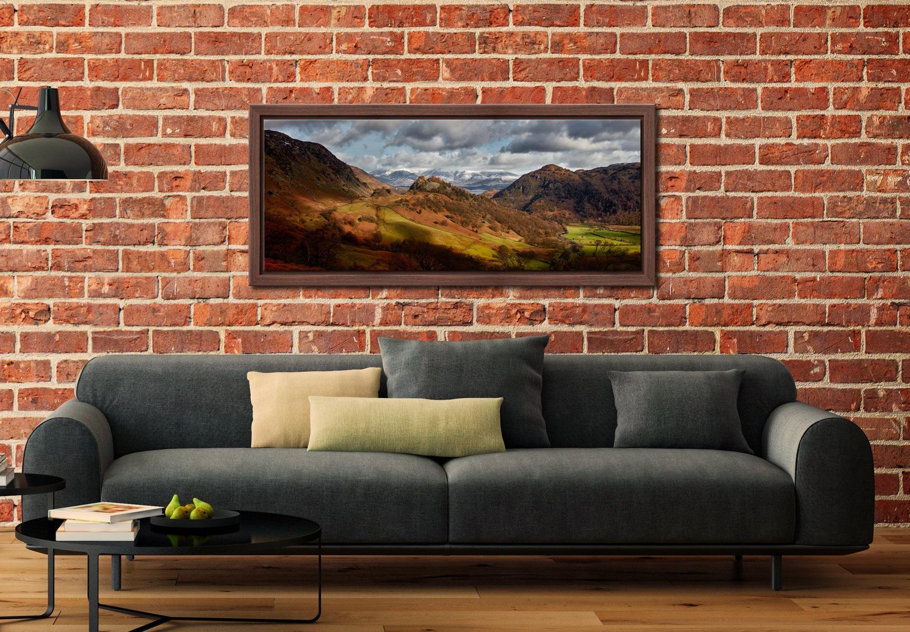 Castle Crag Winter Sunshine - Walnut floater frame with acrylic glazing on Wall