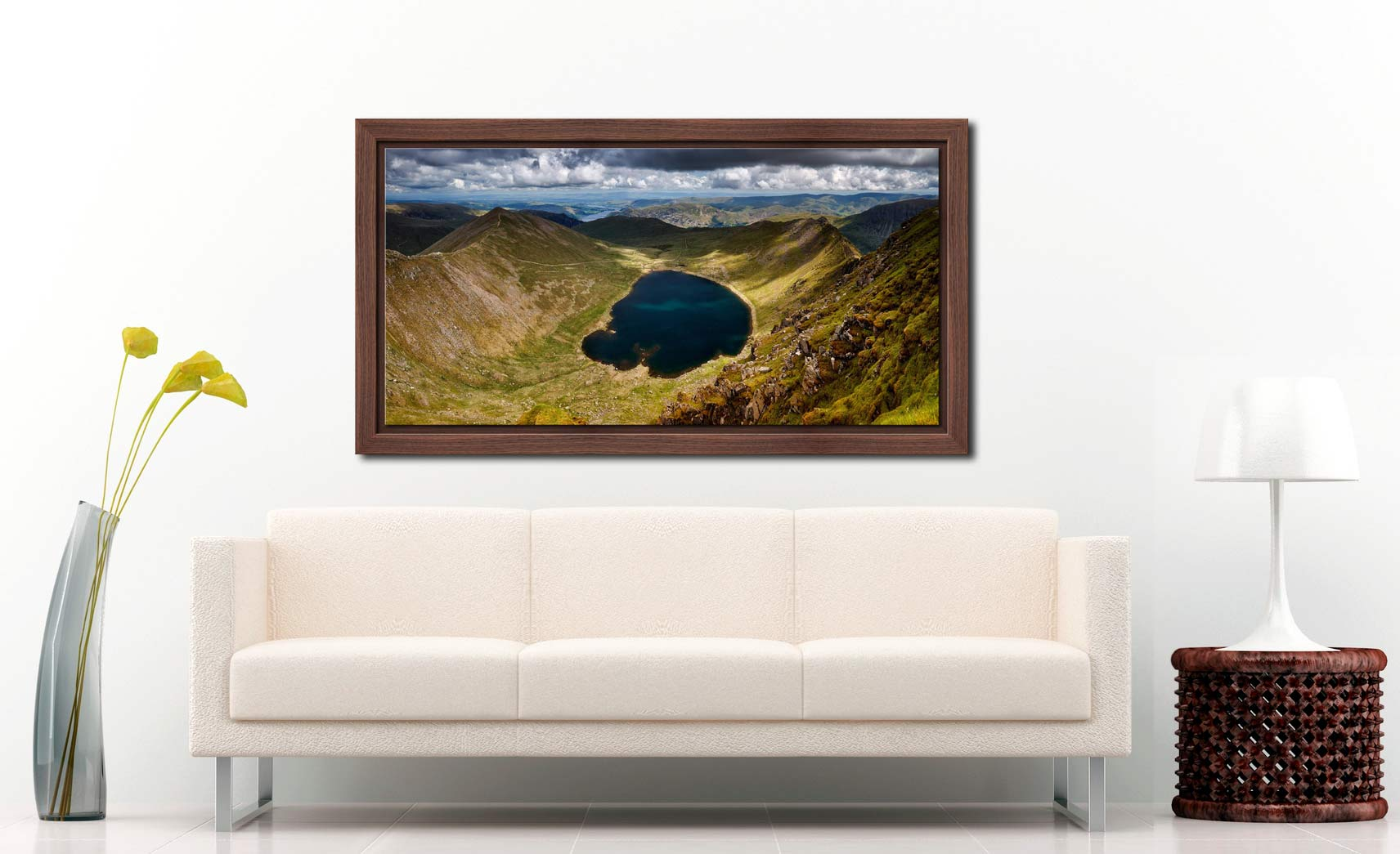 Red Tarn - Walnut floater frame with acrylic glazing on Wall